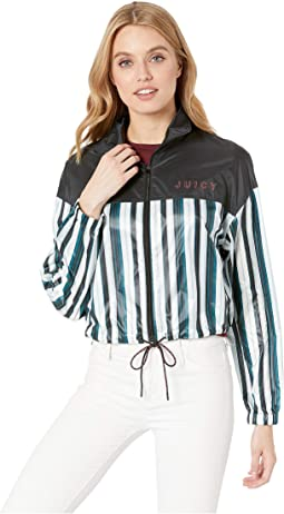 Shiny Zip-Up Track Pullover
