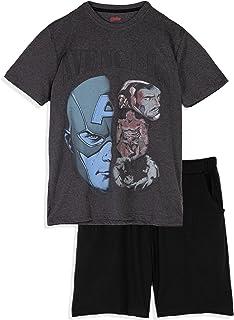 Marvel The Avengers Mens Novelty Pyjamas pjs Loungewear Set Short Sleeve T-Shirt and Shorts 100% Cotton M L XL XXL
