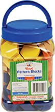 Learning Advantage Wood Pattern Blocks - Set of 250 - 6 Shapes and Colors - 1cm Thick - Early Geometry for Kids - Teach Shape Attributes, Patterning and Fractions (Renewed)
