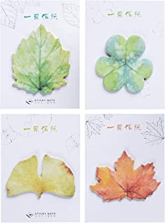 RIANCY Cute Leaf Shaped Sticky Notes, DIY Decorative Leaf Planner Stickers, Self-Adhesive Mini Memo Pad,Self-Sticky Notepad for Scrapbooking, Calendars, Arts, DIY Crafts (Leaf,Pack of 4,)