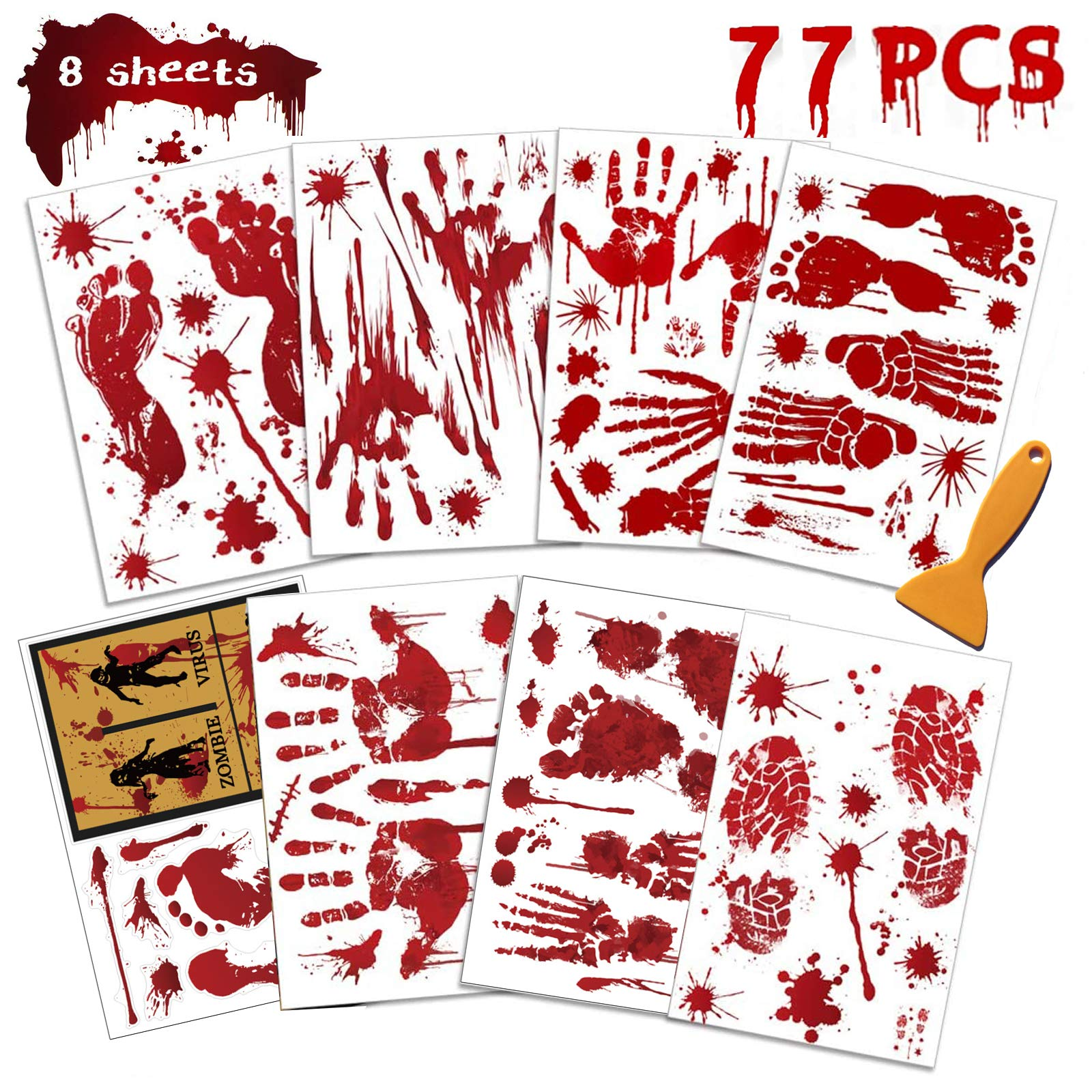 Decoration Halloween Tati.Amazon Com Bloody Handprint Footprint Halloween Decorations 77 Pcs Halloween Window Clings Creepy Halloween Window Decoration Spooky Window Stickers For Halloween Party Decorations Arts Crafts Sewing