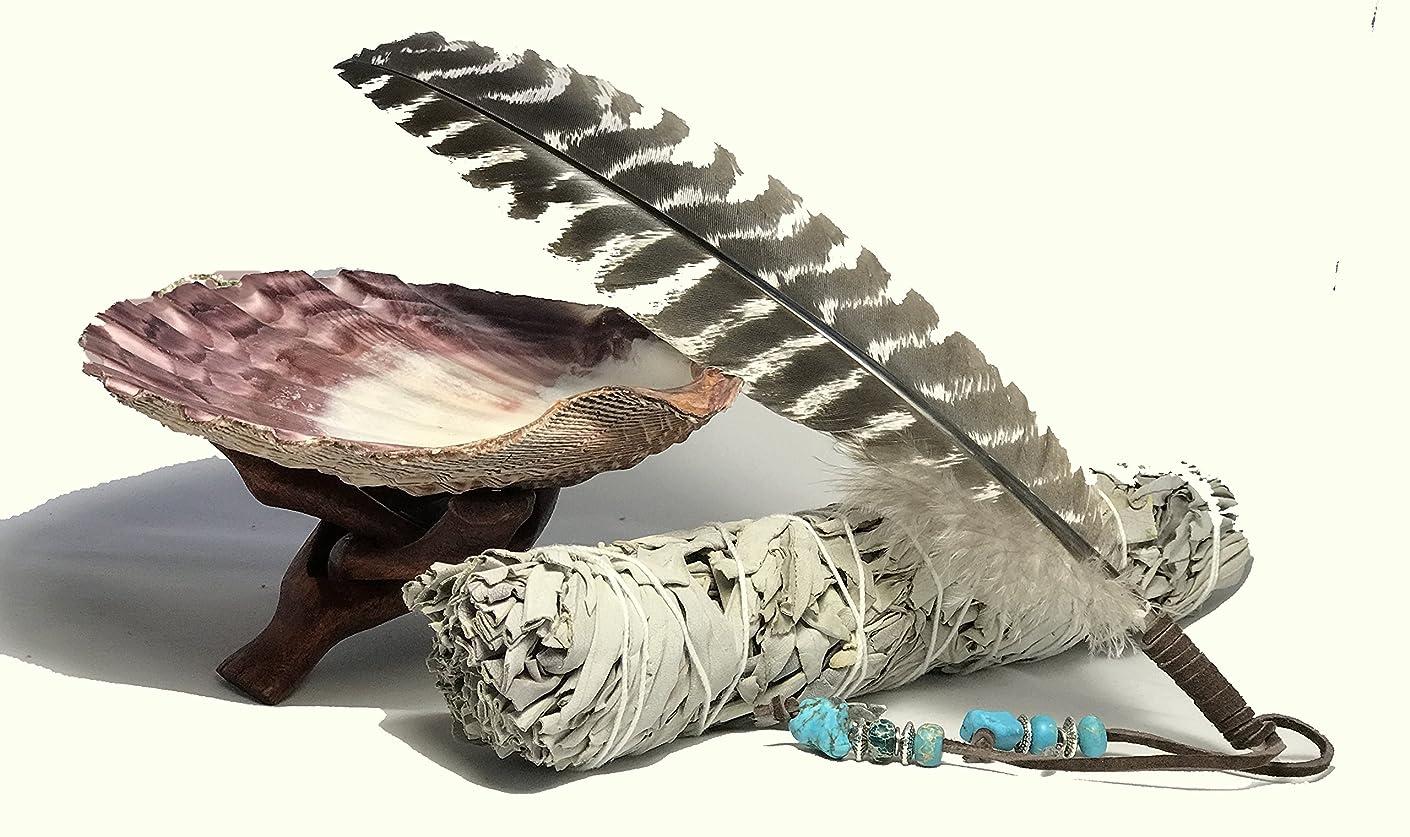 カバー拮抗する構成大きな美しいプレミアムLion Pawシェル、木製コブラ三脚スタンド、LargeホワイトセージSmudge Stick and a handフェザー装飾。ホーム祝福とクレンジングRitual Instructions Included。