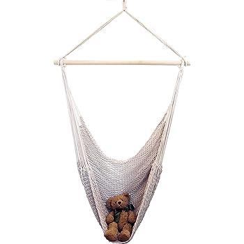 ハンモックチェア吊り上げロープ付 コットン ハンモック リラックスチェア リビング デッキ ベランダ バルコニー キャンプ