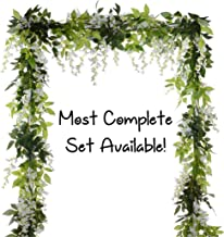 CB Gypsy 10 Pcs (60ft Total) Wisteria Artificial Flower Garland, Fake Wisteria Vine Leaves Silk Hanging Flowers for Home G...