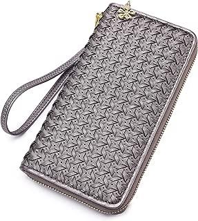 Women Zipper Wallet Hand Woven Ladies Clutch wristlet long purse with Wrist Strap for cards cash phone coins