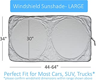 Car Sun Shade SUV Car Size Chart with Your Vehicle Universal Quality-210T Keep Vehicle Accessories Cool UV Sun and Heat Re...