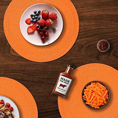 FunWheat Round Braided Placemats Set of 6 Table Mats for Dining Tables Woven Washable Non-Slip Place mats 15 Inch Halloween T