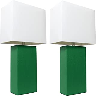 Elegant Designs LC2000-GRN-2PK 2 Pack Modern Leather Table Lamps with White Fabric Shades, 3.9
