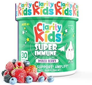 Clarity Kids Immune Support (Elderberry, Vitamin C, Probiotics & Zinc for Kids) Chewables - 30 Pieces, Black Elderberry Ex...
