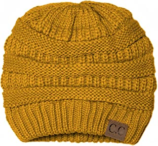 Black Thick Slouchy Knit Oversized Beanie Cap Hat,One Size,Mustard