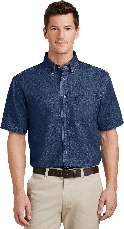 Port National products Company Mens Sales results No. 1 Short Shirt Sleeve Denim Value