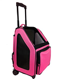 Petote Rio Pet Carrier Bag on Wheels, Black Trim/Fuchsia Pink
