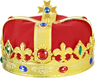 Regal Gold King Crown - Royal Red Felt Imperial Jeweled Mens and Womens Unisex Party Dress Up Accessory Crowns - 1 Piece