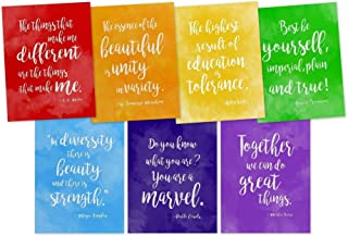 Rainbow of Diversity Motivational Posters Set. Inspirational Art Prints Featuring Quotes From Maya Angelou, A.A. Milne, Mother Teresa, Helen Keller and More. Discount Classroom Bundle