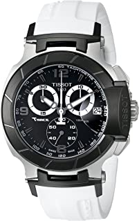 Men's T0484172705705 T-Race Black Chronograph Watch with White Rubber Strap