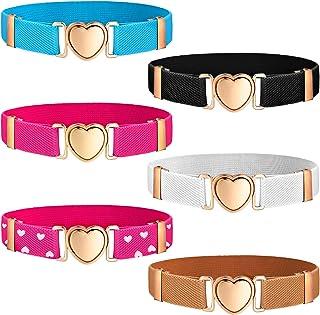 6 Pieces Kids Elastic Stretch Belts Girl Waist Belt...