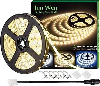 LED Flexible Strip Lights, Waterproof 300LEDS Tape Lighting, 16.4ft/5M 12V String Light, Warm White, SMD 2835, MountingBracketFixingClip for Hallway Staircase Corridor Collectable Bookshelf