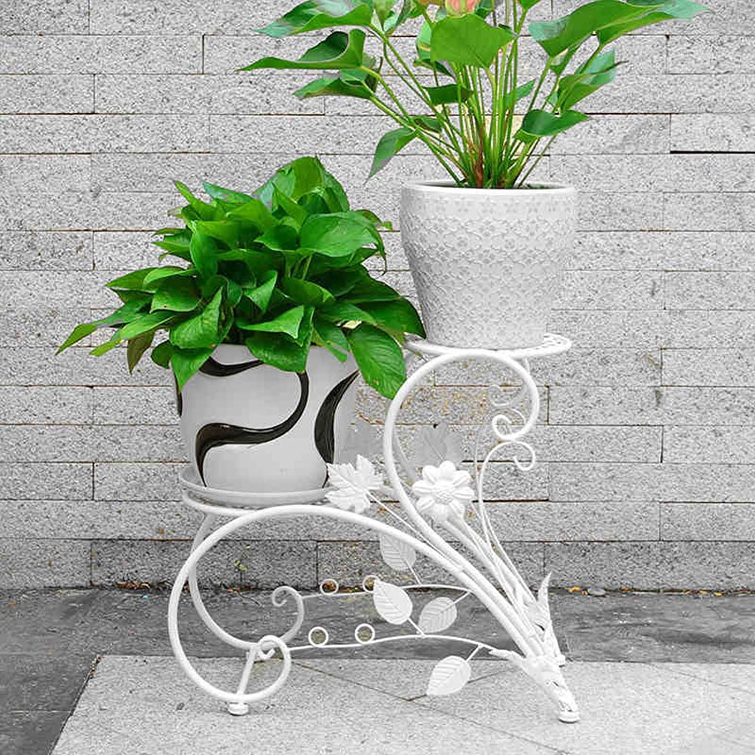 SYF White European Coffee Shop and Other Floor Stand   Black Indoor Balcony Garden Multi-Layer Pot Rack 44x40cm A+ (color   B)