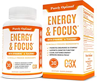 Premium Brain Booster & Energy Pills - Caffeine Pills for Clean, Sustained Energy - Nootropic Brain Supplement for Stress ...