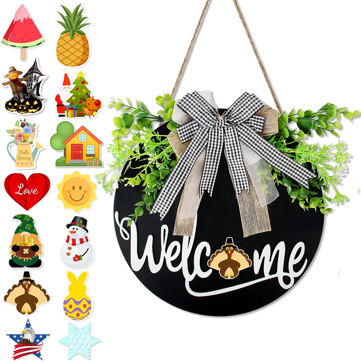 Interchangeable Welcome Sign for Front Door, Farmhouse Welcome Sign Wreath Porch Wall Hanging Front Door Decor with A Plaid Bow for Spring Summer Fall All Seasons Holiday, Black