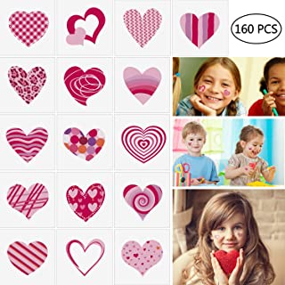 Moon Boat 160PCS Assorted Valentine's Day Party Favors Tattoos - Heart Temporary Kids School Gifts Prizes