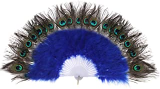 BABEYOND Roaring 20s Vintage Style Peacock & Black Marabou Feather Fan Flapper Accessories (Blue)