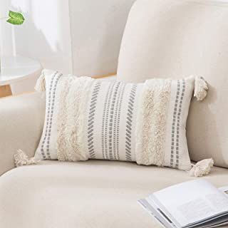 decorUhome Boho Lumbar Decorative Throw Pillow Covers for Bed Bedroom Neutral Accent Cushion Cover Tufted Woven Pillow Cas...