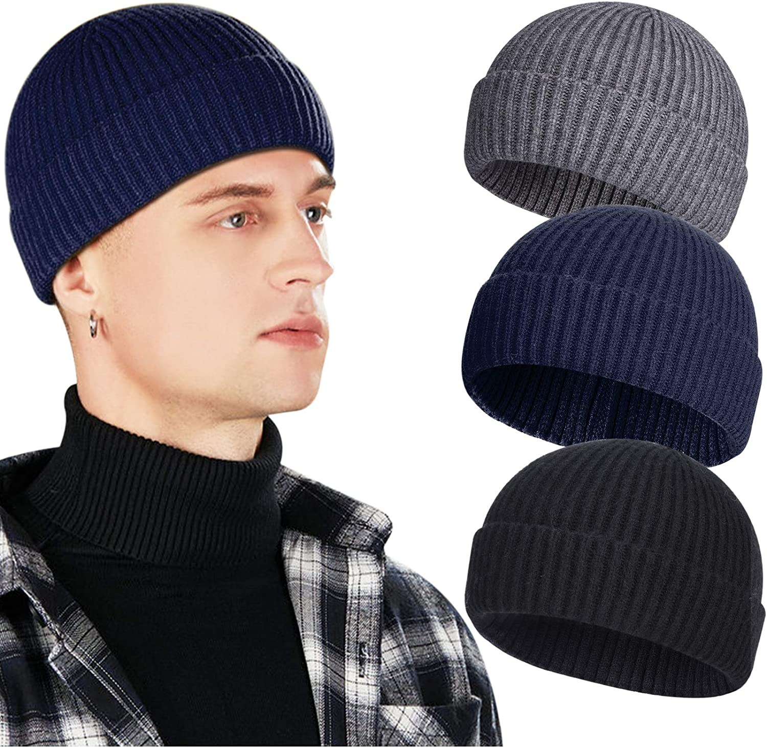 3 Pack Wool Quality inspection Fisherman Beanies for A surprise price is realized Men Short Knit Cap Watch Cuff