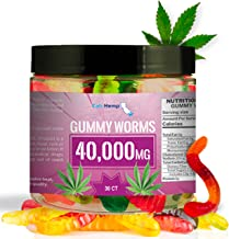 Hemp Gummy Worms 40000MG High Potency 30 Pcs Made from Hemp Oil/L-Theanine | Natural Hemp Candy Supplements for Pain, Anxi...