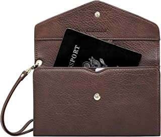 Krosslon Travel Passport Wallet for Women Rfid Wristlet Slim Family Document Holder