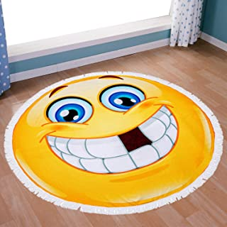 FLY SPRAY Round Carpet Oversized Thick Blanket Tassels 59'' Indian Emoji Expression Theme Pattern Ultra Water Absorbent Muti-Purpose Soft Microfiber Beach Towel Camping Picnic Vacation Mat Smile