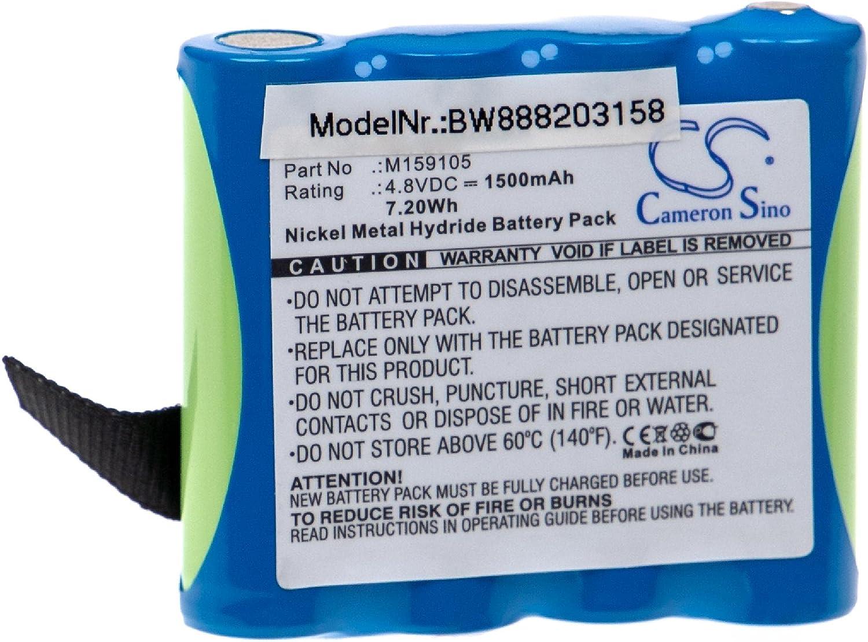 vhbw Batería recargable reemplaza Edan 4XNR49AA1500P, M159105 para tecnología médica (1500 mAh, 4,8 V, NiMH)