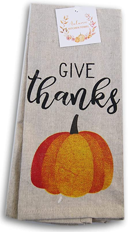 Fall Harvest Kitchen Tea Towel Give Thanks
