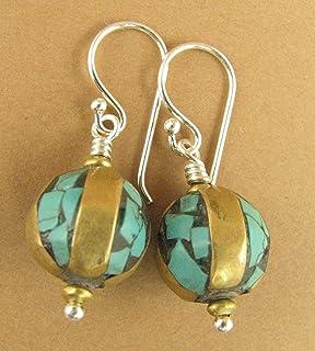 156313ec1 Tibetan mala bead earrings. Turquoise, brass & sterling silver 925. Handmade .