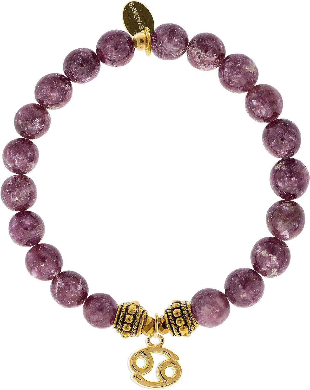 EvaDane Natural Lepidolite Gemstone Rope Bead Cancer Charm Stretch Bracelet