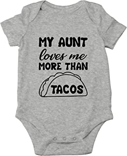 CBTwear My Aunt Loves Me More Than Tacos - Aunite Loves Taco - Cute Infant One-Piece Baby Bodysuit