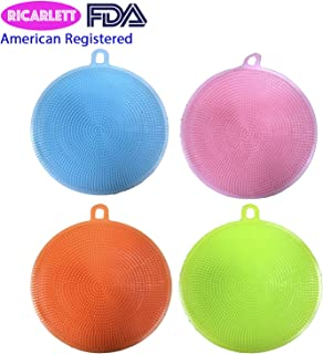 Silicone Non Sick All Purpose Dish Brush Sponge Towel Scrubber For Kitchen Wash Dish Wash Makeup Brush Wash Body Wash Face Wash Fruit and Vegetable Wash Package of 4