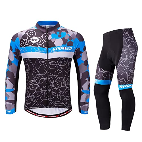 bfc8e6fbb sponeed Cycling Clothes for Men Long Sleeve Mountain Bike Road Bicycle Shirt  Jeresys Pants Padded Bike