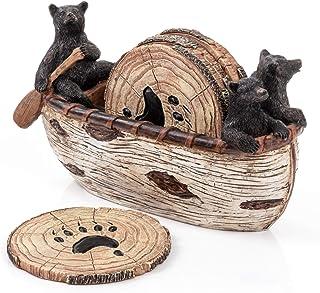 Bear Coasters Set – 6 Full Size Rustic Coasters in Handmade Canoe with Adorable Black Bear Figurines   Log Cabin Decor, Bl...