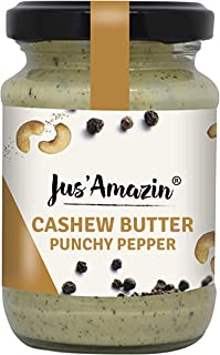 Jus' Amazin Cashew Butter - Punchy Pepper, High Protein, Vegan, Cholesterol Free, Dairy Free, Soy Free, Gluten Free, 100% Natural, Plant-Based Protein, 125 GMS