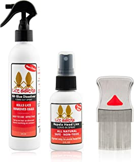 Lice Sisters Lice Treatment and Prevention Kit, Large - Nit Glue Dissolver, Repel Lice Prevention Spray and Comb for Nit a...