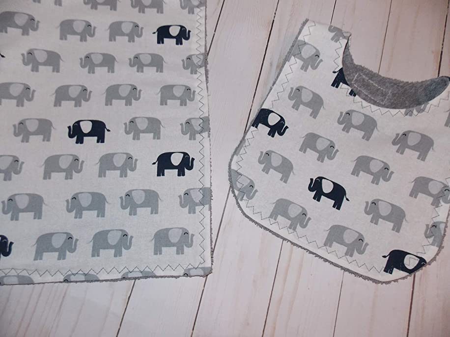 Handmade baby bib and burp cloth elephants gray set