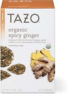 Tazo Organic Spicy Ginger Herbal Tea Filterbags , 20 Count (Pack of 6)