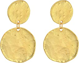 Kenneth Jay Lane - Satin Gold Coin Double Drop Pierced Ear Earrings