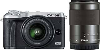 Canon EOS M6 Twin Kit with EF-M 15-45mm IS STM & EF-M 55-200mm IS STM Compact System Camera(M6TKISS) 3 Inch Display,Silver (Australian warranty)