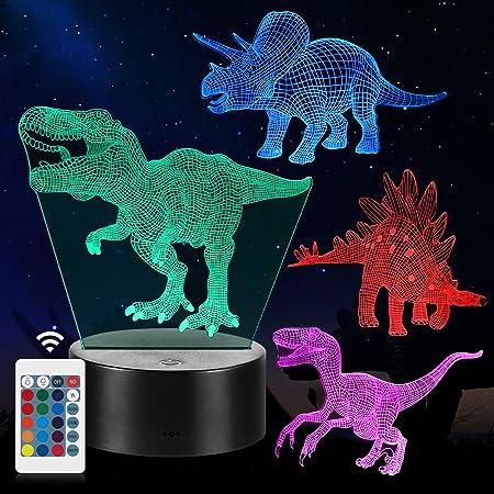 Veilleuse de Dinosaure, Cadeaux de Lampe de Dinosaure 3D avec 16 Changements de Couleur et Télécommande, Cadeaux pour Enfants de 3 4 5 6 Ans et plus, Lampe de Chevet (4 PCS)