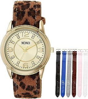 اكس او اكس او ساعة كوارتز ستانلس ستيل للنساء بسوار من الجلد الصناعي، متعددة الألوان موديل 17 (XO9149AZ)