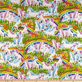 Timeless Treasures Rainbows & Unicorns Multi Fabric by The Yard, Multicolor