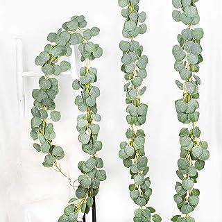 YQing 3 Pièces Artificiel Eucalyptus Guirlande Eucalyptus Feuilles, Vigne d'eucalyptus Faite à la Main, Guirlande de Feuil...