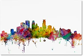 Minneapolis Minnesota Skyline by Michael Tompsett, 30x47-Inch Canvas Wall Art